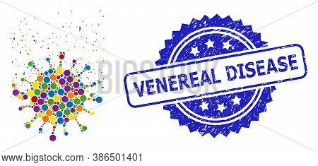 Bright Colored Collage Virus Dissipation, And Venereal Disease Textured Rosette Seal Imitation. Blue