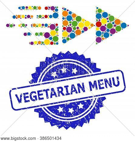 Multicolored Mosaic Move, And Vegetarian Menu Scratched Rosette Seal Imitation. Blue Seal Contains V