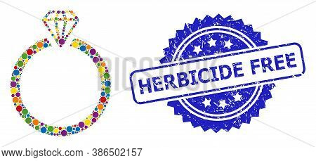 Bright Colored Collage Diamond Ring, And Herbicide Free Grunge Rosette Seal. Blue Stamp Seal Has Her