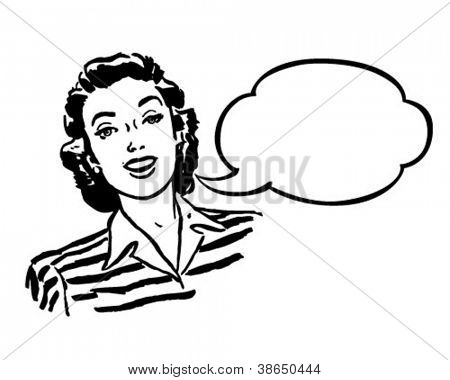 Spokeswoman - Retro Clipart Illustration