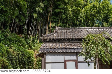 Geumsan, South Korea; September 12, 2020: Temple Building With Ceramic Tiled Roof At Dongguksa Templ