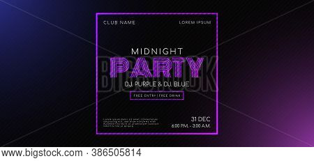 Midnight Music Party Frame Message For Advertise Light Purple. Vector Illustration.