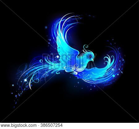 Flying, Light Bird From Blue Flame With Stars On Black Background. Phoenix.