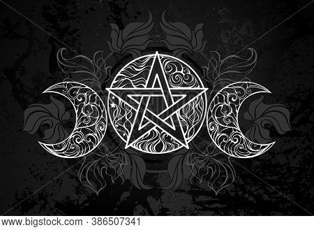 White, Patterned, Contour Pentagram With Crescents On Black Textured Background With Dark Fallen Lea