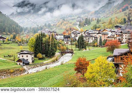 Landscape Of Early Autumn In The Village Near Santa Magdalena In Northern Italy On The Slopes Of The