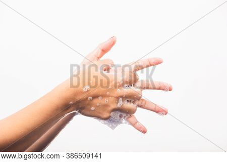 Closeup Young Asian Woman Washing Hands By Soap For Cleanliness And Prevent Germs Coronavirus, Studi