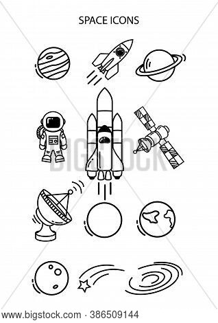Space Icon Isolated On White Background From Space And Aircraft Collection. Space Icon Trendy And Mo