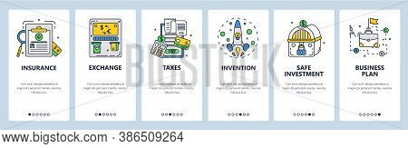 Business Plan, Invention, Safe Investments In Company, Insurance. Mobile App Screens, Vector Website