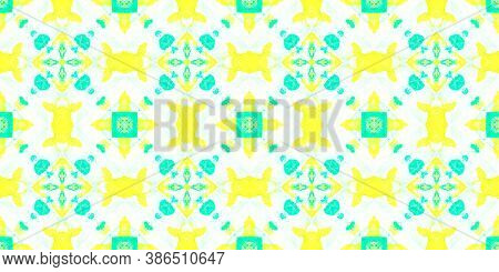 Seamless Distress Paper. Abstract Drawn Aquarel Effect. Green, Yellow And White. Fashion Traditional