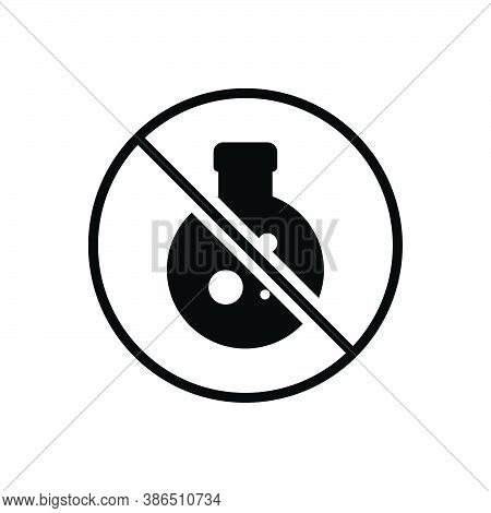 Black Solid Icon For Conservative Preservative Chemical Experience Danger Forbidden Caution Flask