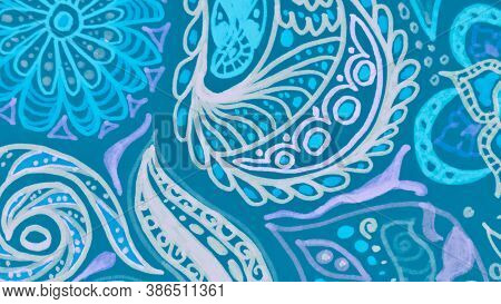 Baroque Ornament. Organic Ethnic Leaf Pattern. Malaysia Batik. Malachite Baroque Ornament. Mint Ethn