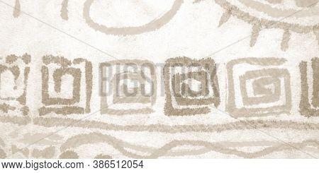 Damaged Geometric Mosaic. Bohemian Design. Ink In Water Texture. Torn Artistic Geometry. Watercolor