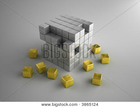 Crumbling Gold Cubes