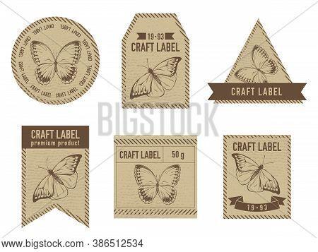 Craft Labels Vintage Design With Illustration Of Great Orange-tip, Jungle Queens Stock Illustration