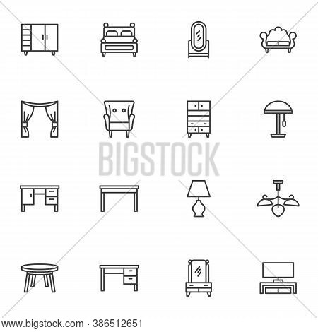 Home Interior Furniture Line Icons Set, Outline Vector Symbol Collection, Linear Style Pictogram Pac