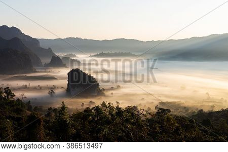 Beautiful Scenery In Northern Thailand ,phu Lung Kha,mountain With Sunrise Provides Beautiful Colors