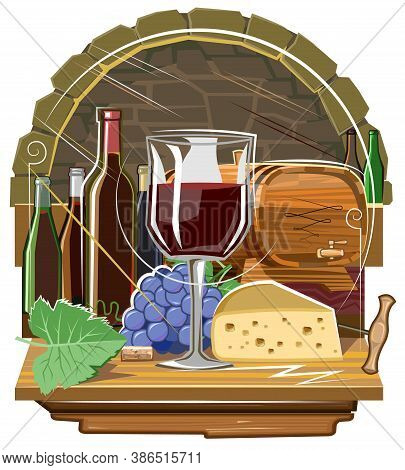 Wine Tasting In The Wine Cellar. Emblem. Red Grape Wine, Bottles, Glass And Wooden Barrel. Symbolic