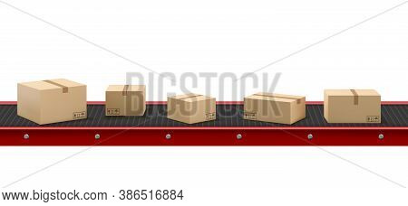 Conveyor Belt With Cardboard Boxes At Factory, Plant Or Warehouse. Vector Realistic Illustration Of