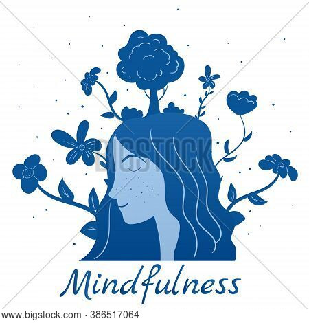 Mindfullness Meditation Woman Meditate. Mental Calmness And Self Consciousness Flora Concept. Vector