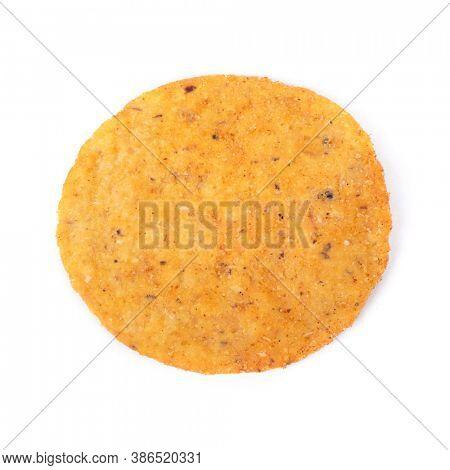 One round nacho isolated on white background