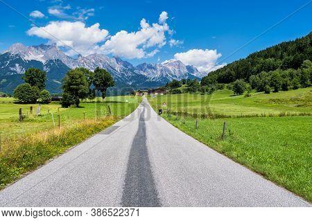 Autumnal Landscape In The Austrian Alps In The Region Of Saalfelden, District Zell Am See In Salzbur