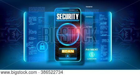System Of Codes To Protect Your Data On Your Smartphone. Cyber Security. Access To Your Data By Scan
