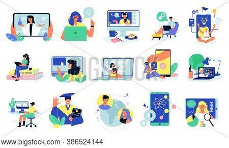 Online Education Set With Isolated Learning Icons And Electronic Gadgets With Remote Students And Tu
