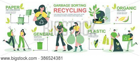 Garbage Recycling Infographics With People Sorting Household Garden Waste In Organic Bin Plastic Pap