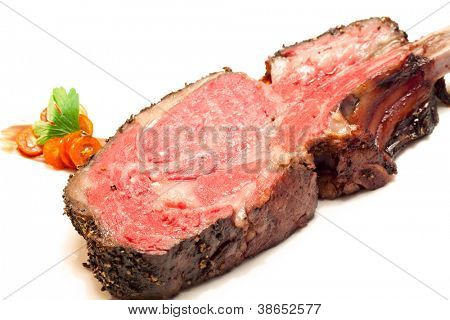 Gourmet Main Entree Course Roasted Wagyu beef steak