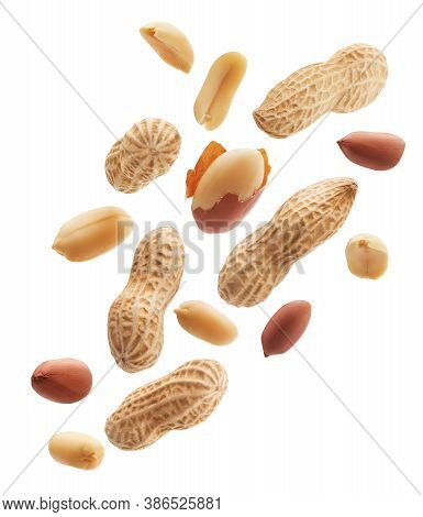 Peeled, Unpeeled And Whole Shell Peanuts Isolated On White Background