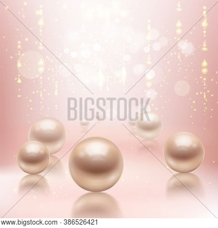 Realistic Pearls Background Composition With Big Pearl Beads On Glossy Surface With Reflections And