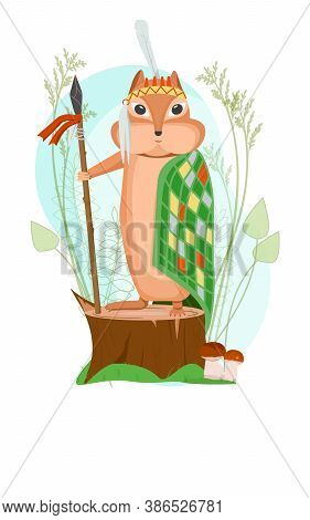 Cartoon Chipmunk Leader With A Spear Stands On A Tree Stump