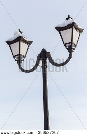 Vintage Black Street Lamppost With Two Lamps In Winter