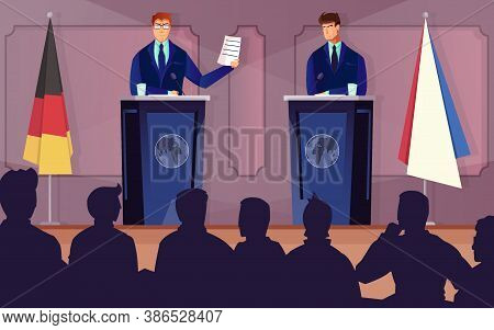 Diplomacy And Tribune Background With Treaty Discussion Symbols Flat Vector Illustration