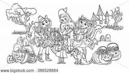 Vector Cartoon Halloween Illustration Ghost, Cowgirl, Witch