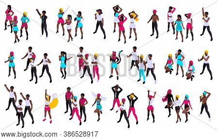 Groups Of Young People Singing Pop Music And Dancing With Microphones Isometric Set Isolated Vector