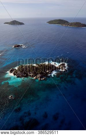 Aerial Panorama Of The Marine Reserve Of Coco Island With The Blue Indian Ocean, Seychelles