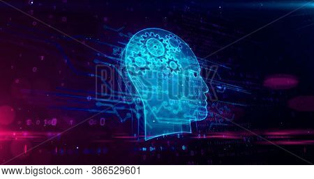 Artificial Intelligence, Cybernetic Brain, Cyborg And Machine Learning Concept. Futuristic Abstract