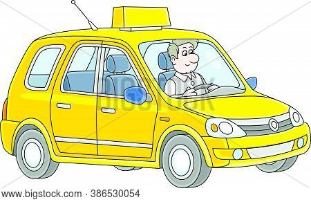 Friendly Smiling Taxi-driver In His New Yellow Cab, Vector Cartoon Illustration On A White Backgroun
