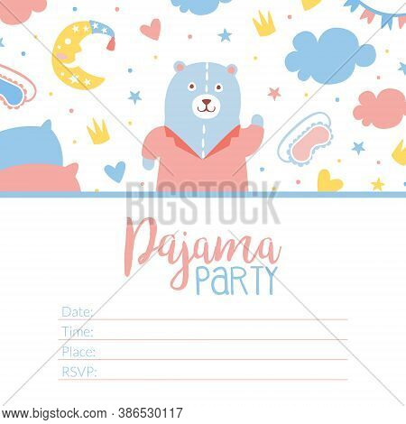Pajama Party Invitation Card Template, Childish Slumber Pyjama Overnight Sleepover Card Cartoon Vect