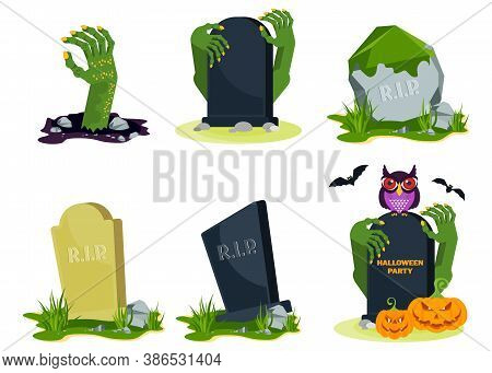 Old Decrepit Grave In A Cemetery. Mossy Warped Gravestone. Monsters, Zombies, Evil Spirits. Decorati