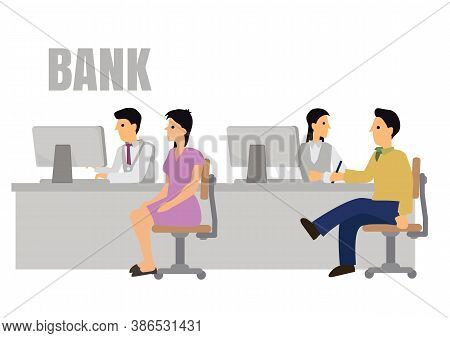 Bank Office Interior With Professional Banking Service Staffs And Clients. Concept Of Banking Credit