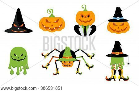 Set Of Characters For The Holiday Halloween. Evil Pumpkin, Pumpkin Wearing A Witch Hat. Sly Evil Spi