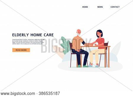 Elderly Home Care Website Banner With Social Worker, Flat Vector Illustration.