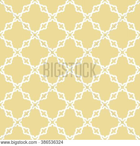 Seamless Vector Ornament In Arabian Style. Geometric Abstract Golden And White Background. Pattern F