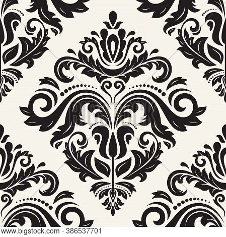 Classic Seamless Pattern. Damask Orient Light Beigeand Black Ornament. Classic Vintage Background. O