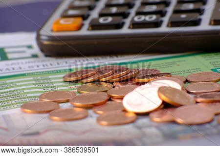Close Up Of Coins On Table Background, Coins Stacked Background And Advertising Coins Of Finance And