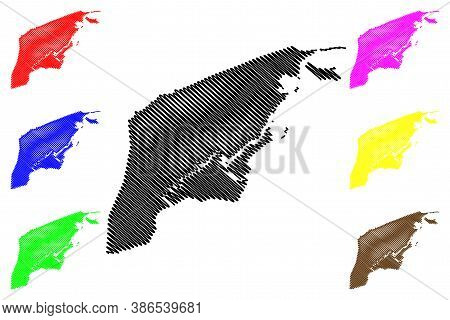 Brunei-muara District (nation Of Brunei, The Abode Of Peace, Borneo Island) Map Vector Illustration,