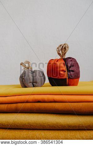 Small Fabric Knit Decorative Pumpkin. Handmade, Autumn Fall Decor, Thanksgiving And Halloween Table