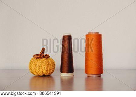 Small Fabric Knit Decorative Pumpkin. Handmade, Autumn Fall Decor, Thanksgiving And Halloween Table